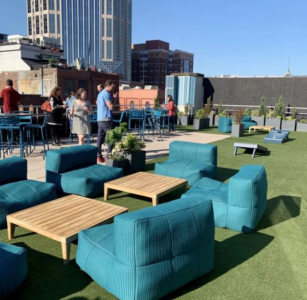 Fans of buffalo bills trip city tap rooftop bar welcome party